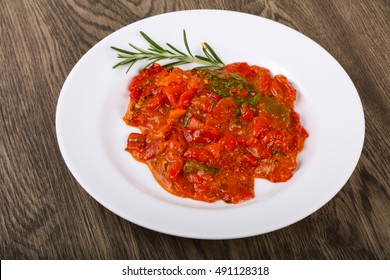 Grilled red bell pepper with tomato sauce