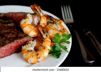 Grilled Rib Steak and Pan Seared Shrimps