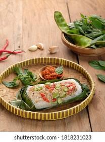 nasi bakar images stock photos vectors shutterstock https www shutterstock com image photo grilled rice nasi bakar traditional food 1818231023