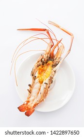 Grilled river prawn isolated on white background