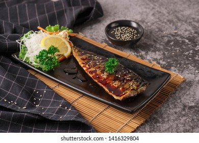Grilled saba fish with sweet sauce