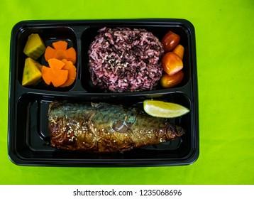 Grilled Saba with rice, Grill fish with sauce , Saba fish teriyaki sauce, Japan food