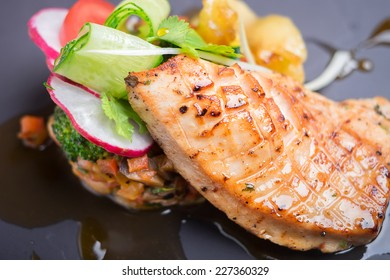 Grilled salmon with assorted vegetables