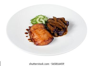 Grilled Salmon Fish Steak Eggplant Vegetable Cucumber Dinner Dish