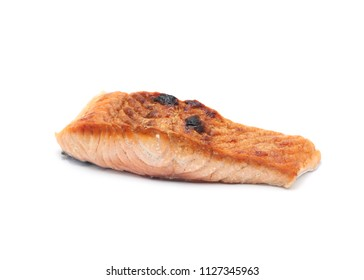 Grilled Salmon isolated on white background.