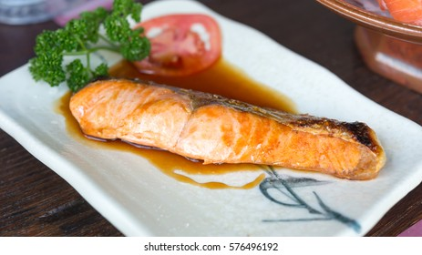 Grilled salmon, Japanese food
