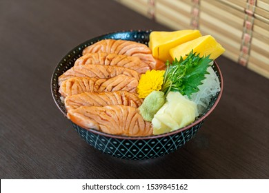 grilled salmon on topped rice bowl (donburi) - Japanese food style