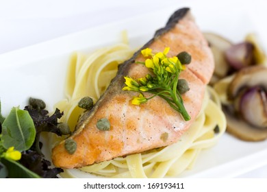 Grilled salmon with pasta