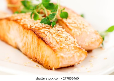Grilled salmon, sesame seeds  and marjoram on white plate. Studio shot