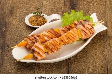 Grilled salmon skewer with dijon mustars sauce