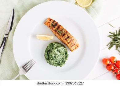 Grilled Salmon Steak Mash Potato Spinach Flatlay
