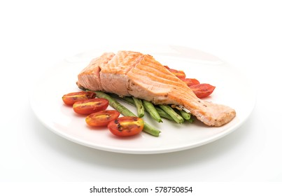 grilled salmon steak on white background