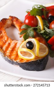 Grilled salmon steak and vegetable salad on a plate close up vertical