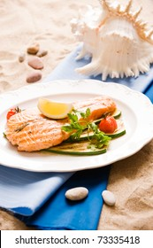 Grilled Salmon Steak With Vegetables. Shallow depth Of field
