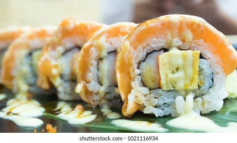 grilled salmon sushi roll Asian or Japanese food