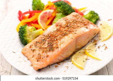 grilled salmon and vegetable