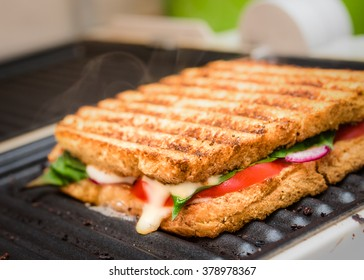 grilled sandwich / panini on grill, selective focus