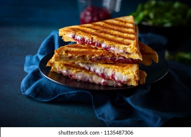 Grilled sandwiches with cheese, ham and cranberry chutney on plate. Perfectly idea for Christmas lunch.