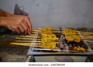 Grilled satay, a famous dishes for several countries in Asia. Preparation of beef and chicken grilled satay for Eid al fitr celebration - Image