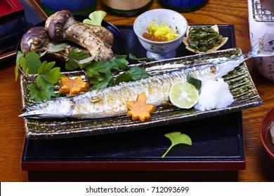 Grilled Saury and Matsutake mushrooms