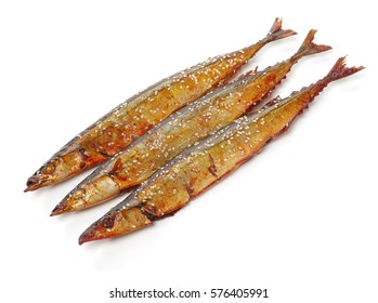 Grilled saury on white background