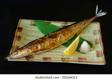 Grilled Saury served on a plate