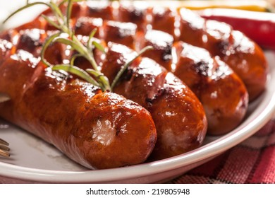 Grilled sausage on a plate.