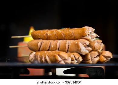 grilled sausage on skewer