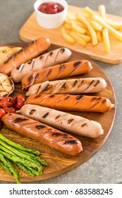 grilled sausage with vegetable on plate