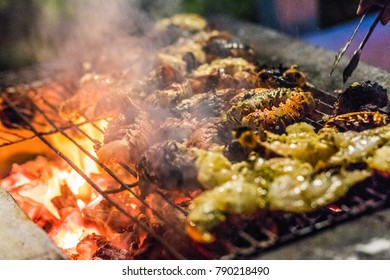 Grilled Scampi on the BBQ during a Trip to Caribbean.
