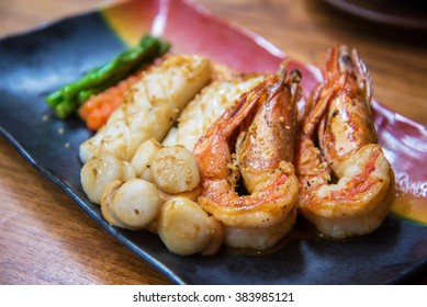 Grilled seafood set with shrimp, squid, scallop - Japanese Teppanyaki