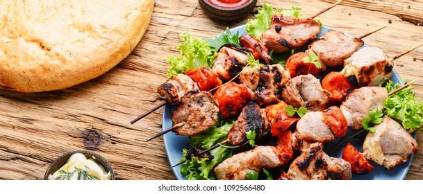 Grilled shish kebab or shashlik on skewers.Eastern food.BBQ