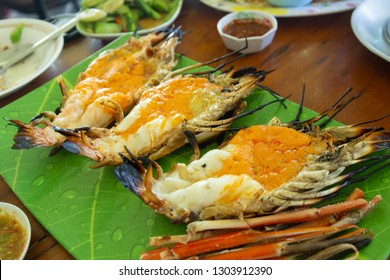 Grilled shrimp / Grilled big river prawn and seafood spicy sauce