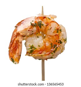 grilled shrimp on stick isolated