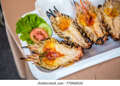 Grilled shrimp on the table
