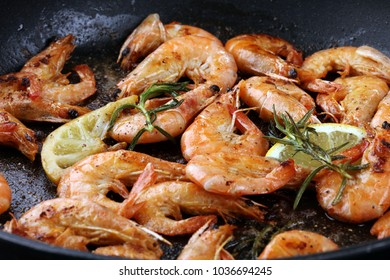 Grilled shrimp skewers. Seafood, shelfish. Shrimps Prawns skewers with herbs, garlic and lemon. Barbecue srimps prawns.