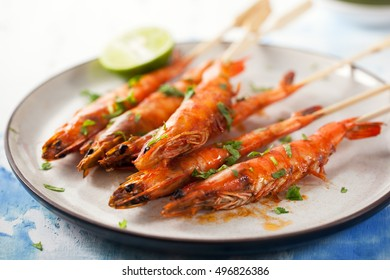 grilled shrimp stick in plate