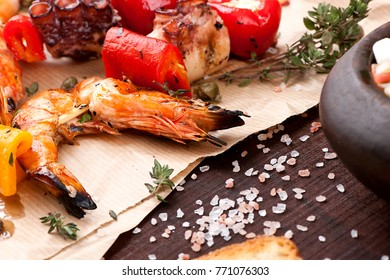 Grilled Shrimps with Octopus