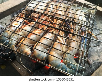 Grilled shrimps on stove