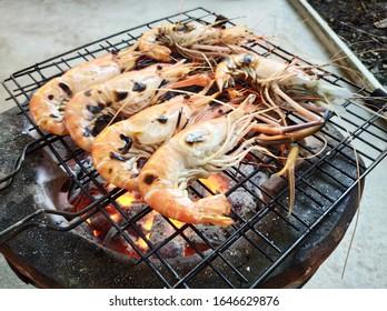 Grilled Shrimps or River Prawns Barbeque.