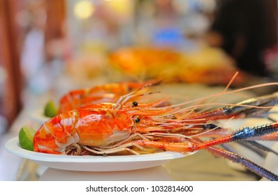 Grilled Shrimps in a Street Market