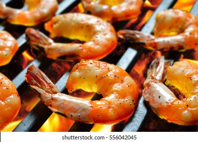 Grilled shrimps,prawns on the flaming grill