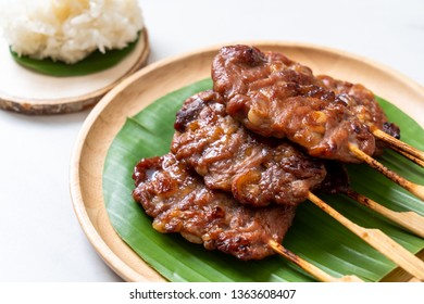grilled skewered milk pork with white sticky rice - local Thai street food style