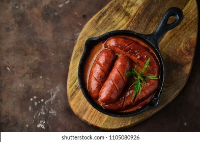 Grilled spanish chorizo with herbs and sauce
