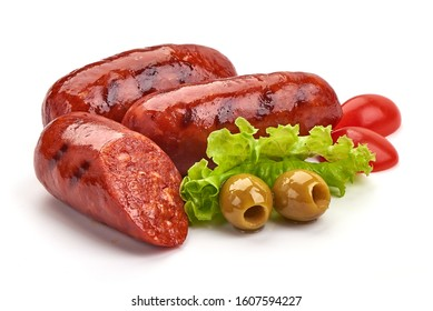 Grilled Spanish chorizo sausages, isolated on white background.
