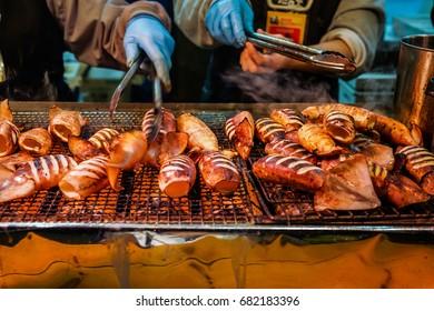 grilled squid in market japan