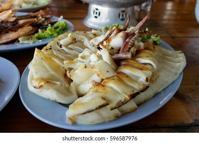 Grilled squid in a plate