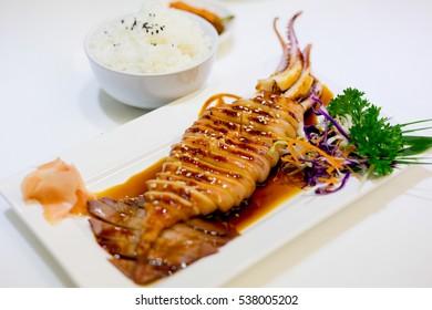 grilled squid with teriyaki sauce, japanese cuisine