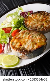 grilled sturgeon steaks with vegetable salad closeup on a plate on the table. vertical