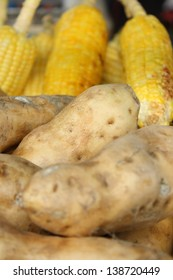 grilled sweet potato and sweet corn